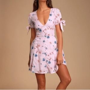 LULU'S Lilly Light Pink Floral Tie Sleeve Dress